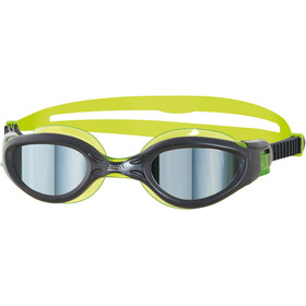 Zoggs Phantom Elite Mirror Lunettes de natation Enfant, gun metal/green/mirror